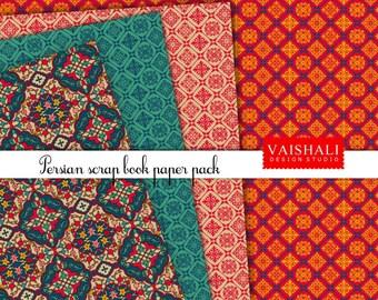 Patrón de persa, coordinado estampados, tonos joya Rica, 4 hojas, impresiones digitales