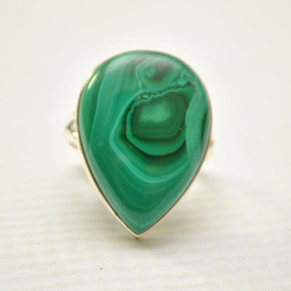 Sterling Silver Malachite Ring Sz 8.5 #9272