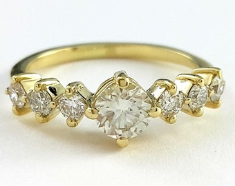Art Deco Engagement Ring, Unique engagement ring, Diamond Ring, Yellow Gold Ring, 14k Ring, Round diamond ring, Antique Ring, Bridal Jewelry