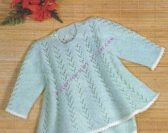 Baby Girl's Long Sleeved Angel Top & Panties 4ply Sports weight yarn sizes 18 - 20 ins - PDF of Vintage Knitting Patterns - Instant Download