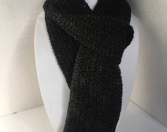 Black Dark Grey Crocheted Scarf