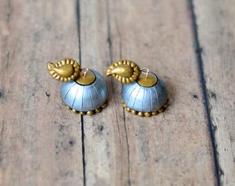 Jhumkas - Indian Jewelry - Terracotta Jewelry - Silver gold jhumkas - Polymer clay jewelry - Ethnic jewelry -Handmade Indian Wedding Jewelry
