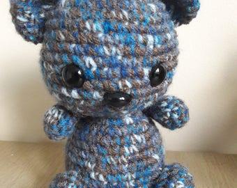 Handmade Crochet Teddy Bear Stuffed Knit Toy RAVENCLAW Harry Potter Brown/Blue Gift NEW 18cm