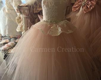 Peplum Flower Girl Dress Blush Pink