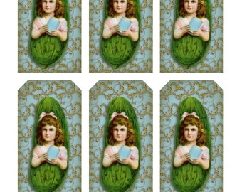 Antique PICKLE GIRL Ad Tag Sheet -  Instant Download image - baby shower, love pickles, ad ephemera, heinz