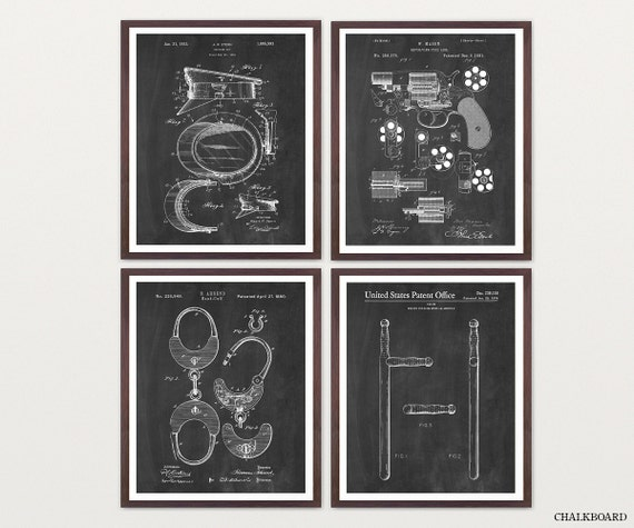 Police Patent Art - Police Art - Police Poster - Police Wall Art - Police Officer - Law Enforcement - Revolver Patent - Handcuffs - Cop Art