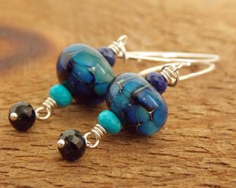 Modern Artisan Lampwork Earrings, Luxe Glass Earrings, Blue Earrings, Winter Earrings, Handmade Jewelry, Gift for Her