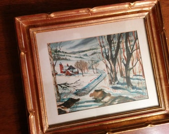 Original signed watercolor of a winter scene and barn, signed by Angie Napoli