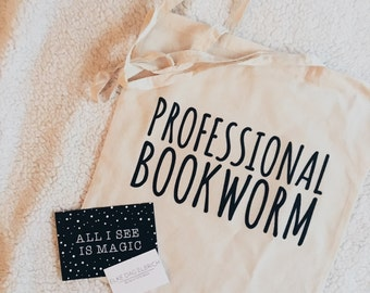 Bookworm tote bag, canvas bag, canvas tas, baumwoll, professionl bookworm, book lover, quote