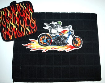 Biker Pot Holder & Kitchen Towel Set... Blue