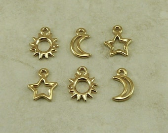 TierraCast Sun Moon and Star Open 6 Charms Mix Pack > Stellar Milky Way Outer Space 22kt Gold Plated Lead Free Pewter I ship Internationally