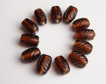12 Oval Glass Beads Maple Bohemian Style Size 13 x 8mm Suitable for Earrings, Necklace, Bracelet
