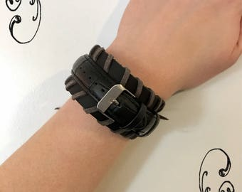 Black Leather Band Bracelet FREE SHIPPING only U.S.