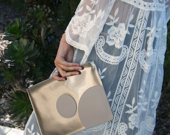 Iridescent Leather Clutch. Grey Leather Clutch Bag. Oversized Clutch. Grey Leather Bag. Zipper Bag. Summer Clutch.