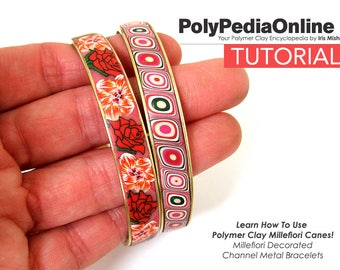 SALE! Polymer Clay Tutorial, Millefiori Canes, Bracelet, Bangle, Channel Bracelet, DIY Jewelry, PDF Tutorial, Step by Step, Fimo Pattern
