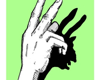 Shadow Puppet Witch print / lime green wall art magic feminist