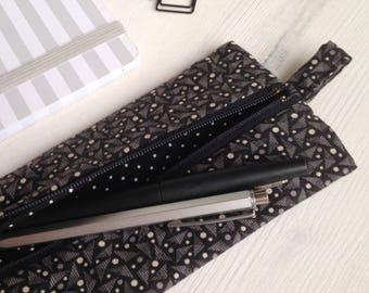 Flat pouch handbag-black triangles