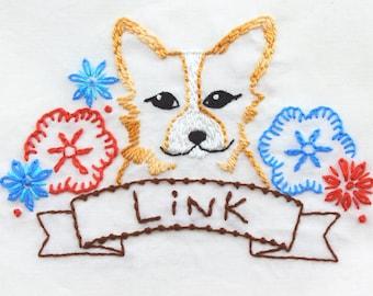 Corgi Embroidery Design Hand Embroidery Pattern Dog Embroidery Design Corgi Dog Design