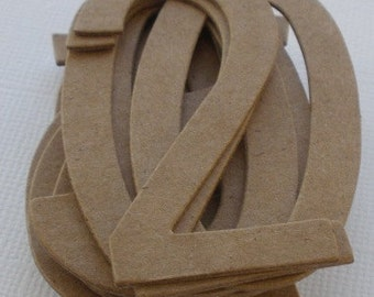 """2 1/4"""" SiMPLE NUMBERS Raw Bare Natural Chipboard Die Cuts -- 2 1/4"""" Tall"""