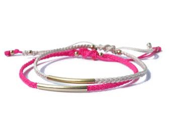 knotted cord bracelet 14kgold filled tube bracelet / friendship bracelet / adjustable bracelet / macrame bracelet / braided bracelet