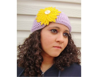 Crochet Cloche Hat with Flower in Lavender - crochet hats for women, crochet hats for girls, crochet hats for baby girls