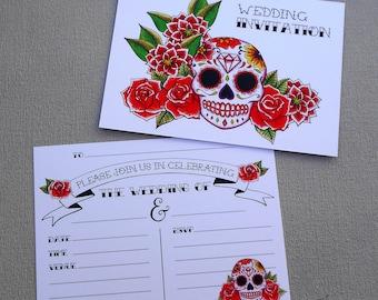 10 Red Sugar Skull Wedding Invitations & Envelopes Tattoo Rockabilly Day of the Dead Dia De Los Muertos