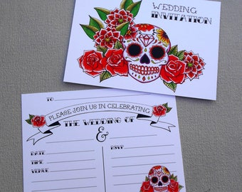 10 Black Rose Wedding Invitations & Envelopes Gothic Tattoo