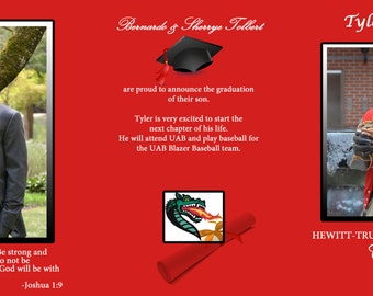 Graduation, Grad, Announcements, Tri-fold, Graduation Tri-fold Digital File, Printable Announcements, Graduation Invitation,