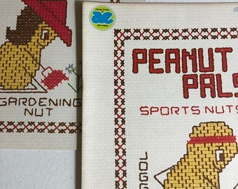 APRILSALE Peanut Pals, Set of Two, Nutty Ladies,Sports Nut, Vintage 1977, Very Hard to Find, Counted Cross Stitch Pattern Booklets