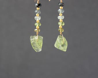 Raw Peridot, Peridot Rough Earrings, Peridot Earrings, Ombre Earrings, Gemstone Earrings, Color Shaded, Green Earrings