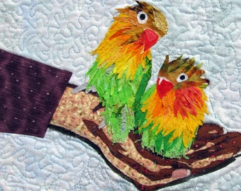 Love Birds in Hand Quilt Art Wall Hanging
