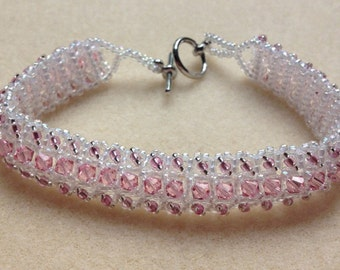 Beaded Swarovski Crystal Bracelet-Light Pink-8 in.