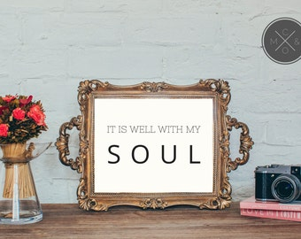 It Is Well Hymn Print, INSTANT DOWNLOAD, Maloney & Co printable, art print, wall decor, scripture print, typography art