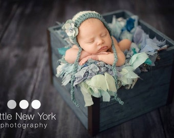 Striped Knitted Teal Newborn Hat Baby Boy Photo Prop Coming Home Outfit Spring Girl Bonnet Hand Knit Shower Gift Going Infant Photography