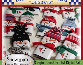 Snowman Candy Bar Wrapper, Laurie Furnell, printables, holiday candy wrappers, Christmas wrappers, Christmas printables, papercrafts, candy