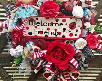Summer Wreath, welcome wreath, Ladybug wreath, Mother's Day, Floral wreath, Rose decor, front door decor, front door wreath, Doll wreath,