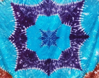 Starflower Tapestry, hand dyed, one of a kind, work of art.