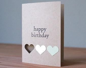 Handmade Birthday Card With Hearts