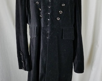 NEWPORT NEWS Black Velvet Military Equestrian Steampunk Gothic Long Midi Coat Womens 18 Marching Band Rocker Double Breasted Funnel Neck