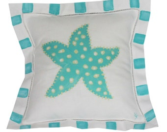 Turquoise Starfish Linen Coastal Pillow