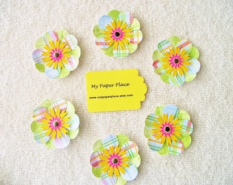 6 -Green and Gold -  2 INCH PAPER FLOWERS - Free Secondary Shipping