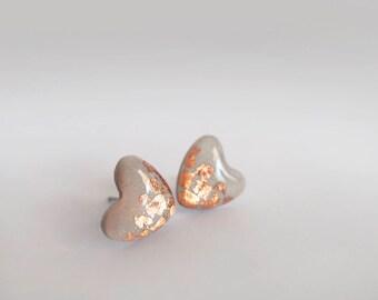 Gray & Copper Heart Stud Earrings - Gift for Her - Hypoallergenic Titanium Posts