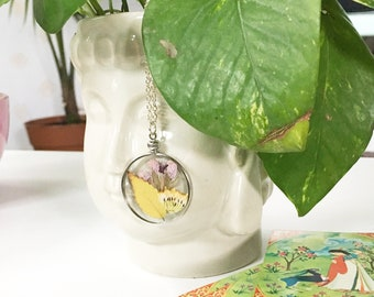 Real Pressed Flower and Leaf Necklace, All Natural Pendant