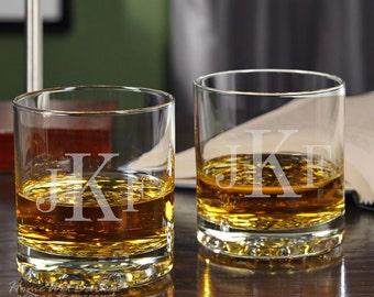 Buckman Whiskey Tumblers - Personalized Whiskey Glasses - Classic Monogram Design - Premium Glass with Non-Stick Contoured Base