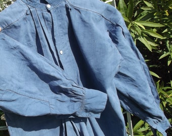 Antique French Linen Shirt Workwear Chemise blue Woad chores shift