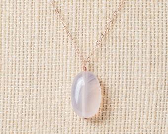 Long Rose gold necklace, rose quartz pendant necklace, birthstone, semiprecious, rosegold pale pink