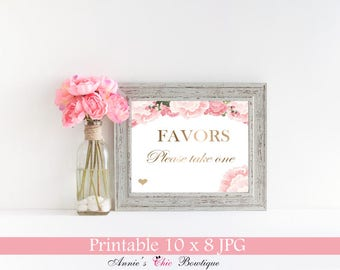 Wedding Favor Sign, Party Favor Sign, Birthday party favor sign, Shower favor Sign, Printable Wedding Decor, Pink Gold Glitter FLORENCE P315