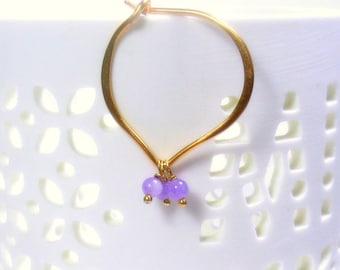 Gold Hoop Earrings, Lavender Jade Hoops, 24K Gold Vermeil, medium or large size
