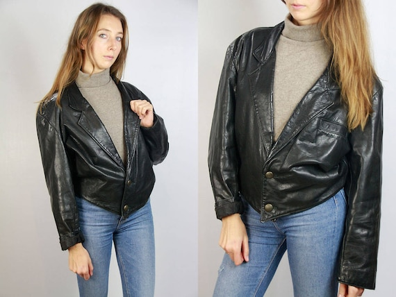 Black Leather Jacket / Biker Jacket Leather / Vintage Leather Jacket / Leather Jacket Biker / Biker Style Jacket / 80s Leather Jacket