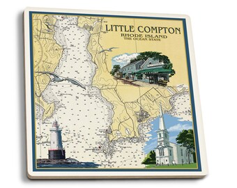 Little Compton, RI Chart - LP Artwork (Set of 4 Ceramic Coasters)